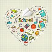 Escuela y avión de papel doodle fondo vectorial en forma de corazón — Vector de stock