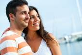 Young couple in harbor. — Stock Photo
