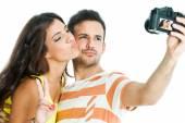 Couple taking fun selfie. — Stock Photo