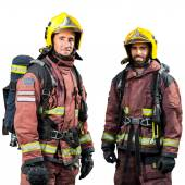 Two firemen isolated. — Stock Photo