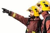 Firemen analyzing fire isolated. — Stock Photo