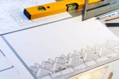 Architectural plans  with tools. — Stockfoto