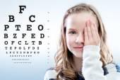 Girl reviewing eyesight. — Stock Photo