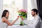 Cute couple having romantic dinner. — 图库照片