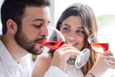 Couple enjoying wine tasting. — Stock Photo
