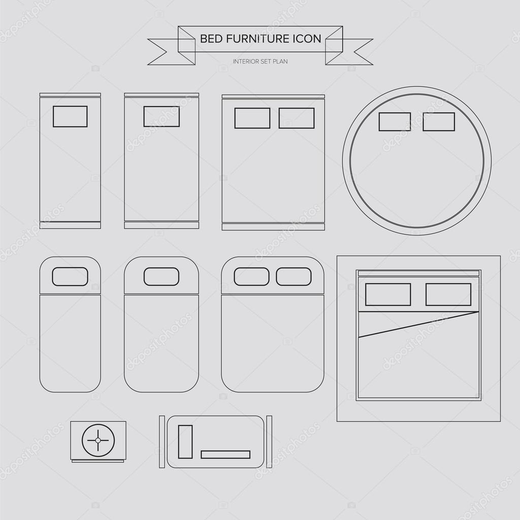ic ne contour de lit meubles image vectorielle sumetho. Black Bedroom Furniture Sets. Home Design Ideas