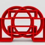 Color red bookshelf circle — Stock Photo #53819461