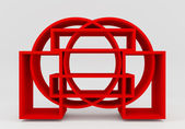 Color red bookshelf circle  — Stock Photo