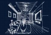 Mão, design de interiores para sala de desenho — Vetor de Stock