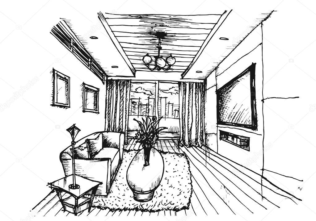 Hand tekenen van interieur ontwerp voor woonkamer for Interieur tekenen