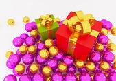 Gift Box on Balls — Zdjęcie stockowe