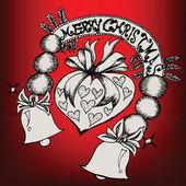 Merry Christmas Doodles Label — Stockvector