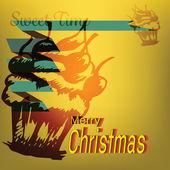Merry Christmas Cupcake Sweet Doodles Label — Stock Vector