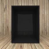 Blank black box on Wooden background — Stock Photo