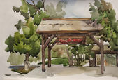 Traditional wooden gates with straw roof watercolor art on paper — Stock Photo