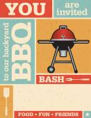 Retro Barbecue Invitation — Stock Vector