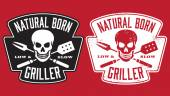 Natural Born Griller barbecue vector image with skull and crossed utensils. — Stock Vector