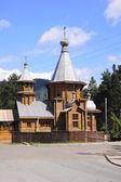 Wooden orthodox St. Znamensky temple in town of Divnogorsk — Stock Photo