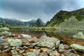 Alpine scenery in the Alps, with sunset clouds and glacier lake — Foto Stock