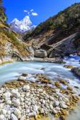 Snow covered mountains and glacier valley in Himalaya — Stock Photo