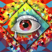 Eye on a colored background — Stock Photo