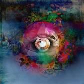 Eye on colored background. — Stok fotoğraf