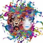 Abstract tiger and woman face — Stock Photo