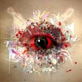 Esoteric eye on a colored background. — Stock Photo