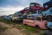 Discarded cars on junkyard — Stock Photo