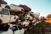 Discarded cars on junkyard — Foto Stock