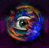 Human eye on creative background — Foto de Stock