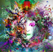 Abstract and mystic woman face — Stock Photo