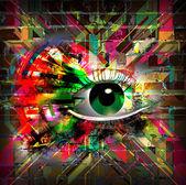 Esoteric illustration of eye — Stock Photo