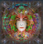 Futuristic female face — Stock Photo
