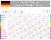 2016 German Planner-2 Calendar with Horizontal Months — Stock Vector