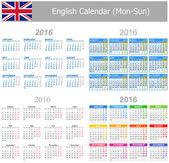 2016 English Mix Calendar Mon-Sun — Stock Vector