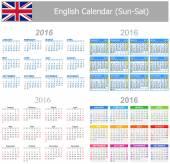2016 English Mix Calendar Sun-Sat — Stock Vector