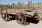 Vintage horse log hauling wagon — Stock Photo