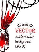 Cortina vermelha com branco — Vetor de Stock