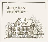 Vintage ink house — Stock vektor