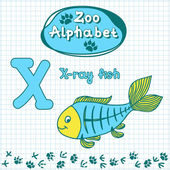 Alphabet, X-ray fish, letter X — ストックベクタ
