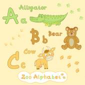 Alphabet with animals — Stock Vector