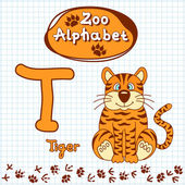 Alphabet with tiger, letter T — Stock Vector