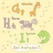 Giraffe, horse, iguana. Letter G, H, I — Stock Vector