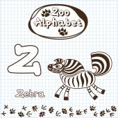 Animals, zebra, letter Z — Stock Vector