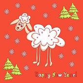 Yeni yıl kartı koyun ile — Stok Vektör