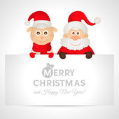 Santa Claus and sheep with a place for text greeting card — Vector de stock