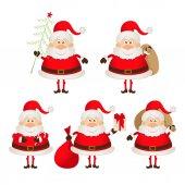 Set of cute smiling Santa Claus — Stock Vector