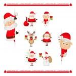 Santa Claus, reindeer, snowman, Christmas characters set — Stock Vector #59512223