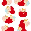 Set cupids with hearts — Stock Vector #62899887